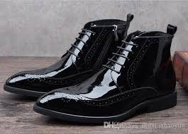 black patent leather boots men pointed