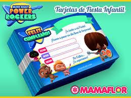 Mini Beat Power Rockers Tarjeta De Cumpleanos De Fiesta Infantil