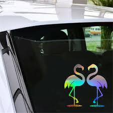 Flamingo Heart Animal Sticker Car Window Bumper Truck Laptop Wall Vinyl Decal Car Truck Parts Motors Auto Parts Accessories