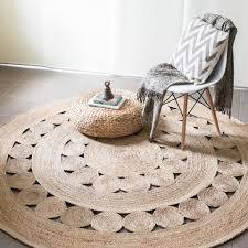 jute flatweave flower round rug