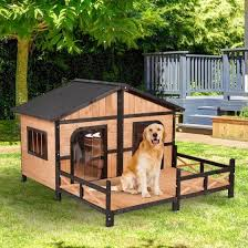 Shop 59 X64 X39 Wood Large Dog House Cabin Style Elevated Pet Shelter Nap Porch Deck Online From Best Pet Houses Cages Fences Doors On Jd Com Global Site Joybuy Com