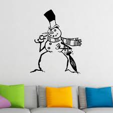 Snowman With Top Hat And Pipe Christmas Wall Sticker Decal World Of Wall Stickers