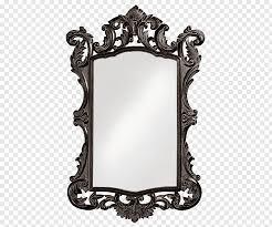 rectangular black framed mirror