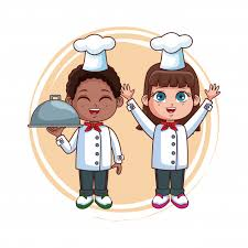 Cute chef kids teamwork cartoons | Premium Vector