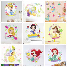 Disney Cinderella Ariel Snow White Princess Wall Stickers For Girl S Room Home Decor Mural Art Kids Wall Decals Pvc Poster Wall Stickers Aliexpress