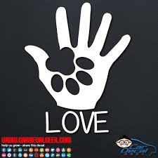 Dog Paw Puppy Love Vinyl Window Car Decal Sticker Dog Decals
