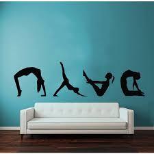 Shop Exercise Girl Meditation Gym Pilates Sport Woman Vinyl Sticker Home Wall Art Nursery Room Sticker Decal Size 44x70 Color Black Overstock 14654595