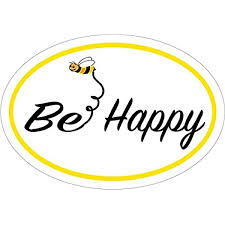 Amazon Com Wickedgoodz Oval Bee Happy Bee Vinyl Decal Bee Happy Bumper Sticker Perfect Inspirational Gift Automotive