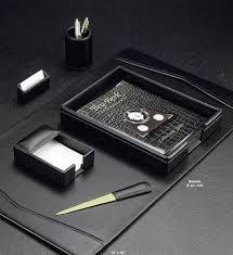 six piece black leather desk set set