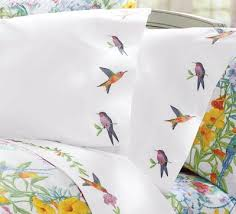 embroidered percale hummingbird bedding