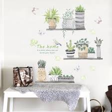 Hot Price 458da Green Potted Plant Wall Stickers Kids Room Bedroom Kitchen Decor Vinyl Removable Wallpaper Decals Art Murals Dc8 Cicig Co