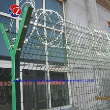 China Y Bracket Post Pvc Spraying Weld Mesh Airport Fence With Barbed Wire China 3d Mesh Fence Fencing