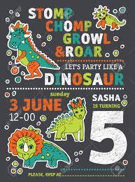 Cumpleanos Del Partido De Los Dinosaurios De La Invitacion