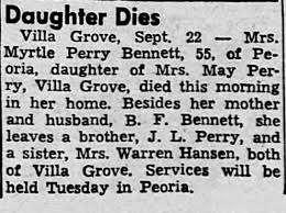 Obituary for Myrtle Perry Bennett (Aged 55) - Newspapers.com