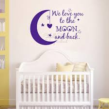 We Love You To The Moon And Back Quotes Wall Sticker Baby Nursery Wall Decal Removable Children Room Quote Vinyl Wall Decor Quotes Stickers For Walls Quotes Wall Stickers From Joystickers 13 39