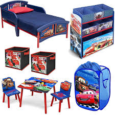 Disney Delta Children Pixar Cars Lightning Mcqueen And Mater 8 Piece Furniture Set Plastic Toddler Bed Table And Table And Chair Sets Cube Storage Furniture