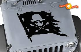 Product Jeep Hood Jolly Roger Skull Pirate Flag Vinyl Decal