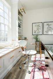 layered rugs under desk transitional