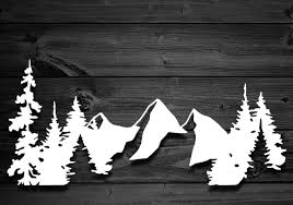Mountains And Trees Vinyl Decal Mountain Decal Mountain Etsy Nature Decal Mountain Decal Scroll Saw Patterns