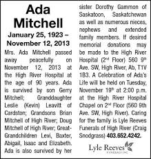 Ada Mitchell | Obituary | High River Times