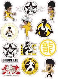 Amazon Com 12pcs Lot Cartoon Bruce Lee Kung Fu Sticker Skateboard Snowboard Luggage Car Bike Waterproof Diy Pvc Stickers For Kids Toys Kitchen Dining
