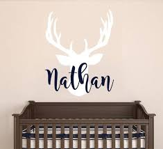 Personalized Name Wall Decal Deer Head Decal Nursery Decor Etsy