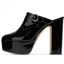 black patent leather mule heels chunky