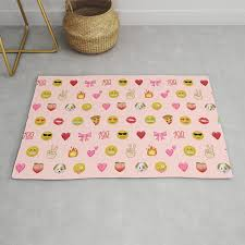 Emoji Pattern Pink Background Perfect Kids Room Decor With Emojis Rug By Charlottewinter Society6