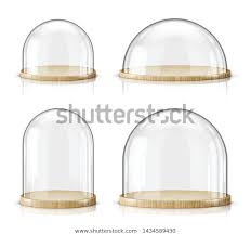 glass dome wooden tray realistic vector
