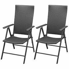 2x garden chairs poly rattan aluminium