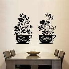 Amazon Com Letters Wall Stickers Home Deocr Mural Decal Art Tea Coffee Cups Kitchen Tea For Coffee Shop Sign Cup Restaurant Door Window Pub Cafe Decor Home Kitchen