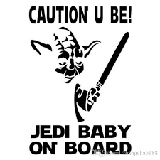 2020 9 5 13 8cm Jedi Baby On Board Funny Car Styling Decal Vinyl Car Sticker Black Silver Ca 1083 From Zhangchao188 0 51 Dhgate Com