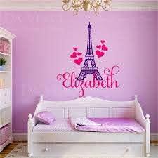 Paris Eiffel Tower Love Girl Custom Name Wall Personalized Etsy In 2020 Paris Eiffel Tower Personalised Vinyl Stickers Walls Room