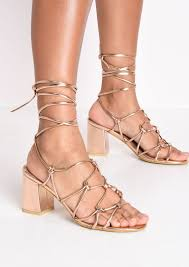 knotted strappy block heel sandals rose