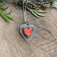 artisan spiny oyster heart pendant