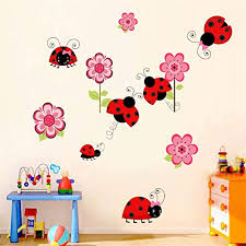 Amazon Com Color Ladybug Wall Sticker Animal Cartoon Kindergarten Children S Room Bedroom Decoration Removable Waterproof Wall Art Mural Home Kitchen