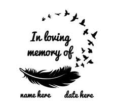 In Loving Memory Car Decal Feather Birds Personalized Van Etsy