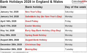 Bank Holidays 2028 in the UK, with ...