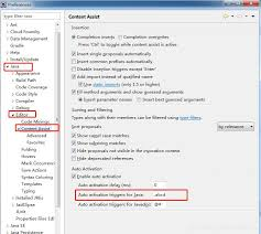 eclipse code completion settings