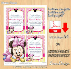 Invitacion Digital Imprimible Baby Minnie Mouse Cumpleanos