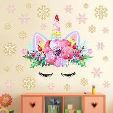 Cartoon Cute Unicorns Pink Gold Dot Wall Stickers Wallpaper Diy Vinyl Home Wall Decals Kids Living Room Bedroom Girls Room Decor Wall Stickers Aliexpress