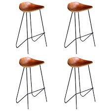 bar chairs 4 pcs brown real leather