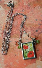 soldered glass collage pendant by