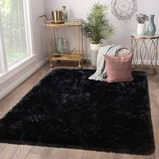 Amazon Com Terrug Soft Kids Room Rug Black Shag Area Rugs For Bedroom Living Room Carpet Plush Fluffy Fur Rug For Nursery Girls Dorm Home Decor 4x6 Feet Black Kitchen Dining