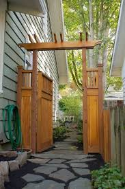Craftsman Pergola Style Gate And Fence My Favorite Tall And Private Backyard Backyard Fences Fence Design