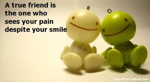 a true friend is the one who sees your pain com
