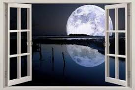 Full Moon Over River 3d Window View Decal Wall Sticker Decor Art Mural Stars Sky Ebay