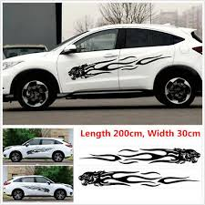 2x Diy Car Body Side Decal Vinyl Flame Graphics Racing Stripes Sticker Universal