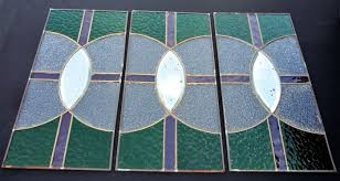 art deco french 3 stained glass