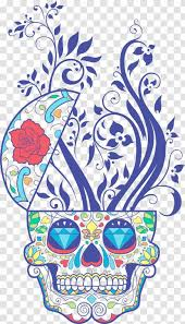 Calavera T Shirt Wall Decal Day Of The Dead Skull Blue Vegetable Pattern Totem Transparent Png